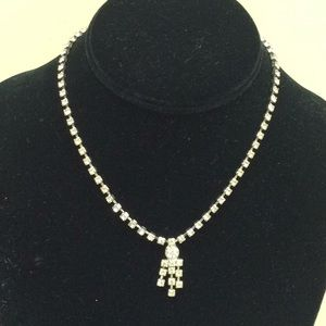 Jewelry - Vintage faux diamond necklace 14""
